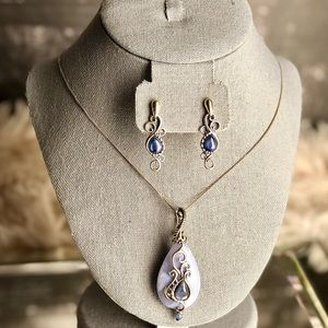 Carolyn Pollack Blue Lace Agate Necklace &Earrings